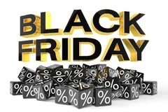 3d render - black cubes with percentage - black friday. 3d render - Black cubes with percentage signs on a reflective bottom over it in capital letters `black Royalty Free Stock Photo