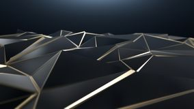 3D render Black and gold abstract low poly triangle background. 4k Stock Photography