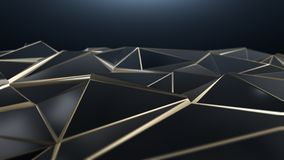 3D render Black and gold abstract low poly triangle background. 4k Stock Photo