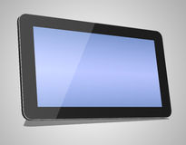3d render of black tablet pc. On grey background Royalty Free Stock Images