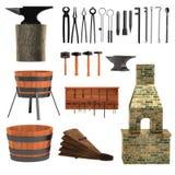 3d render of blacksmith tools Stock Photos