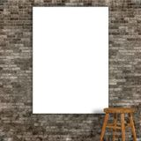 3d render of a blank canvas on a grunge stone wall.  Stock Photos