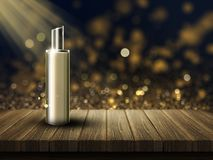 3D blank cosmetic bottle on a wooden table. 3D render of a blank cosmetic bottle on a wooden table against a bokeh lights background Royalty Free Stock Photos