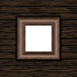 3D blank wooden picture frame on a wooden texture background. 3D render of a blank wooden picture frame on a wooden texture background Stock Photos