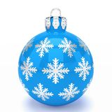 3d render - blue christmas bauble over white background. 3d render of blue christmas bauble with pattern over white background - merry christmas concept Royalty Free Stock Images