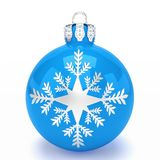 3d render - blue christmas bauble over white background. 3d render of blue christmas bauble with pattern over white background - merry christmas concept Stock Images
