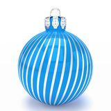 3d render - blue christmas bauble over white background. 3d render of blue christmas bauble with pattern over white background - merry christmas concept Stock Photos