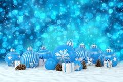 3d render - blue christmas baubles over bokeh background. 3d render of many blue christmas baubles and christmas decorations over blue bokeh background - merry Stock Photo
