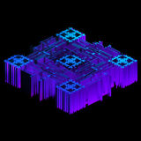3d render of blue geometric data object. Isolated Futuristic object vector illustration