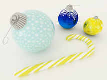 3D render of blue and gold holiday decoration baubles with candy Royalty Free Stock Photos