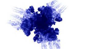 3d render blue ink in water on white background with luma matte as alpha mask for ink effects or background. multiple