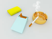 3D render of a blue pack of cigarettes, golden lighter and orange gass ashtray Stock Images