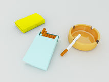 3D render of a blue pack of cigarettes, golden lighter and orange gass ashtray stock illustration