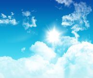3D blue sky with fluffy white clouds Stock Photography