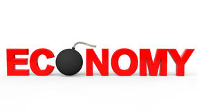 3d render of bomb with word economy. In red color Royalty Free Stock Photography