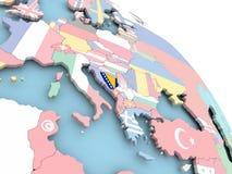 Flag of Bosnia on globe. 3D render of Bosnia with flag on bright globe. 3D illustration Stock Image