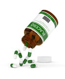 3D render of bottle with placebo pills over white. 3D render of bottle with placebo pills isolated over white background Royalty Free Stock Photography