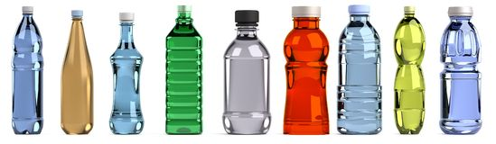 3d render of bottles set Royalty Free Stock Photography