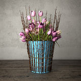 3d render - bouquet of tulips - still life. 3d render - bouquet of pink tulips in blue bucket on a wooden table against rough wall background - still life Royalty Free Stock Photos