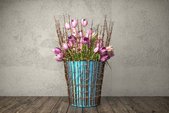 3d render - bouquet of tulips - still life. 3d render - bouquet of pink tulips in blue bucket on a wooden table against rough wall background - still life Stock Photography