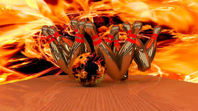 3d render of a bowling ball crashing into the pins. Abstract image Stock Image