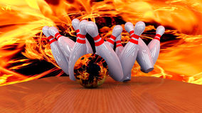 3d render of a bowling ball crashing into the pins. Abstract image Stock Photo