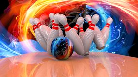 3d render of a bowling ball crashing into the pins Royalty Free Stock Photos