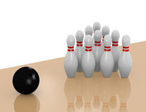 3d Render of a Bowling Lane. 3d Render of a Bowling Ball About to Strike Bowling Pins Royalty Free Stock Images