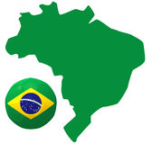 3D render of Brazil. 3D render of soccer football with Brazil map