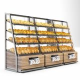 Bread shelves. 3d render bread shelves with bread vector illustration