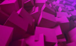 3d render. Bright, juicy background of cubes. Minimalist, abstract background with cubes, neon light. 3d render, minimal Royalty Free Stock Image