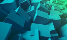 3d render. Bright, juicy background of cubes. Minimalist, abstract background with cubes, neon light. 3d render, minimal Stock Photos