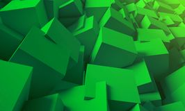 3d render. Bright, juicy background of cubes. Minimalist, abstract background with cubes, neon light. 3d render, minimal Stock Photo