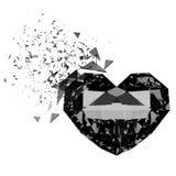 3d render broken black heart. 3d render. Broken black heart diamond  on white background Royalty Free Stock Photos