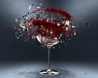3d render, Broken wine glass stock image
