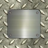 3D render of a brushed metal sign on a metal background Royalty Free Stock Images