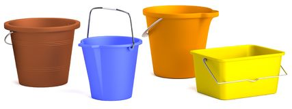 3d render of buckets Stock Photography