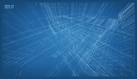 3D render of building wireframe structure. Vector architectural Stock Photography