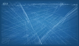 3D render of building wireframe structure. Vector architectural Stock Images