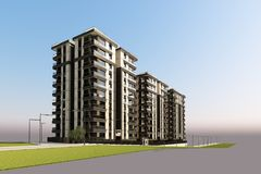 3D Render of 3 buildings exterior. View Stock Image