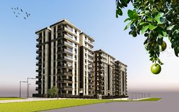 3D Render of 3 buildings exterior. View Stock Images