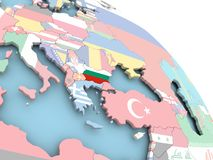 Flag of Bulgaria on globe. 3D render of Bulgaria with flag on bright globe. 3D illustration Stock Images