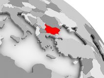 Map of Bulgaria. 3D render of Bulgaria in red on grey political globe. 3D illustration Stock Photos
