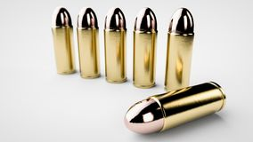 3d render of bullets background. 9mm Handgun ammo Stock Images