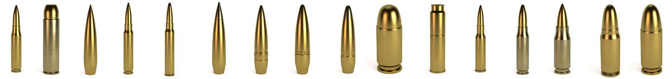 3d render of bullets. Realistic 3d render of bullets Royalty Free Stock Photography