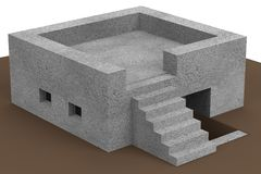 3d render of bunker Royalty Free Stock Photo