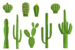 3d render of cactus set Royalty Free Stock Images