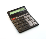 3D render of calculator. 3D render of black calculator with debt on display isolated on white background Stock Photography