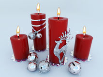 3D render of candles with Christmas decorations. 3D render of red candles with silver and wihte Christmas decorations stock illustration