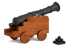 3d render of cannon Royalty Free Stock Photo